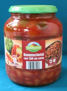 Aldi bonenschotel voor chili con carne, vegam