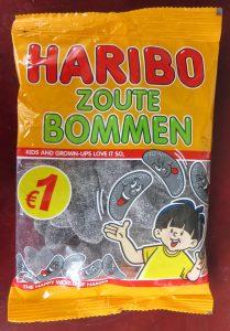 Haribo zoute bommen drop, vegan, zonder gelatine