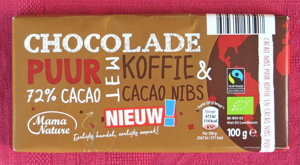 Aldi chocola met cacaonibs en koffie, vegan