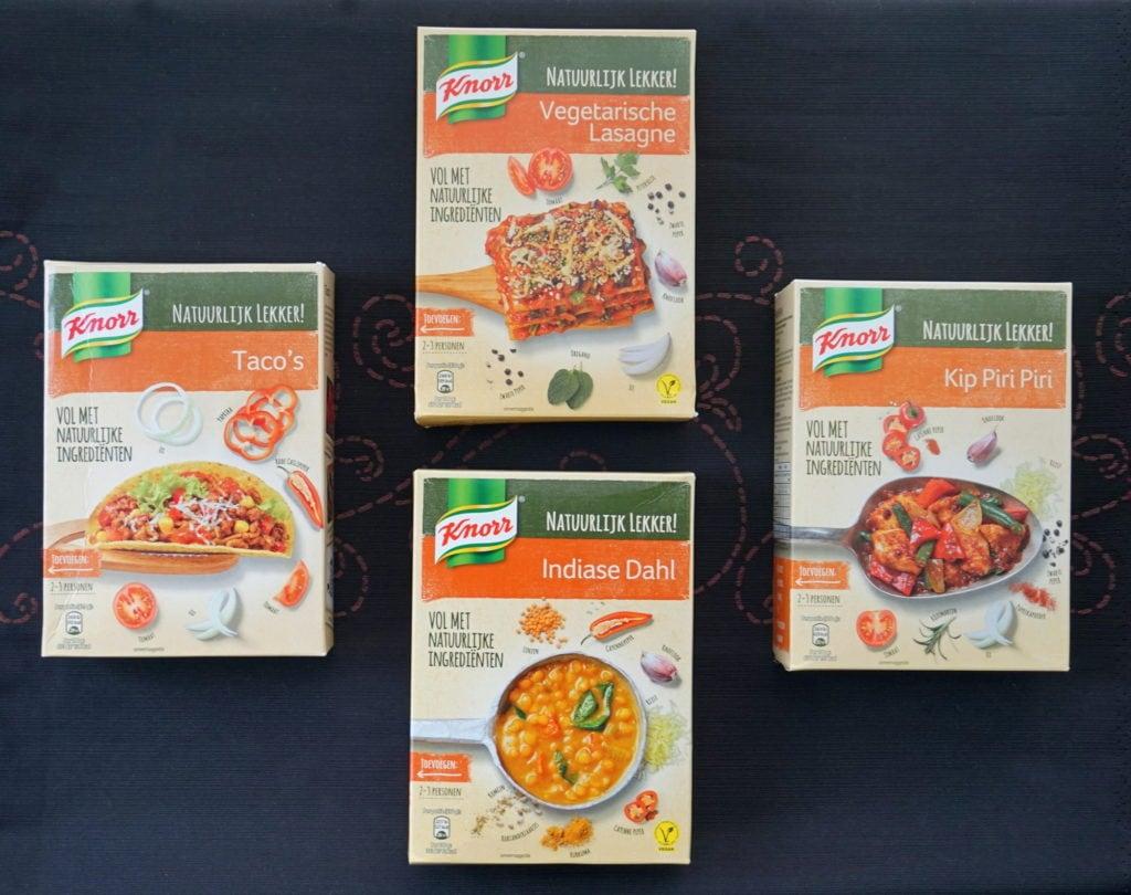Knorr vegan wereldgerechten, lasagne, piri piri, dahl, taco's