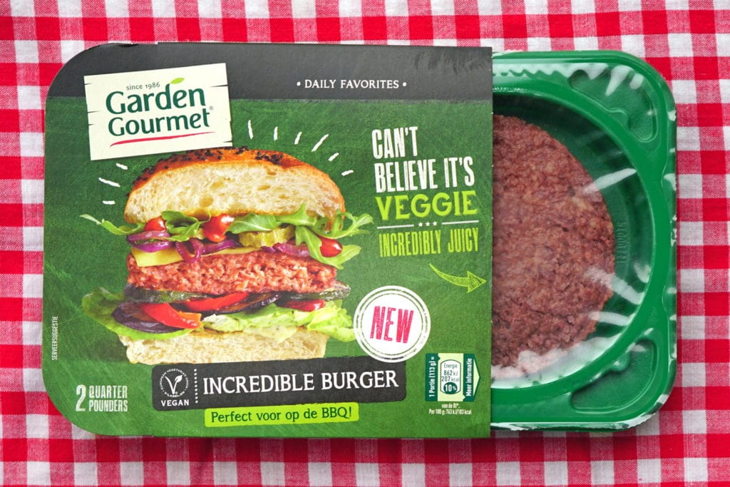 Garden Gourmet incredible burger, vegan