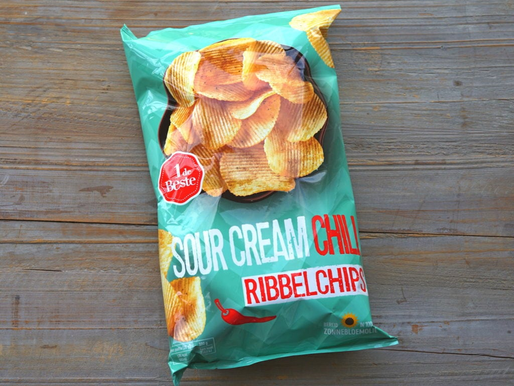 Sour cream ribbel chips vegan