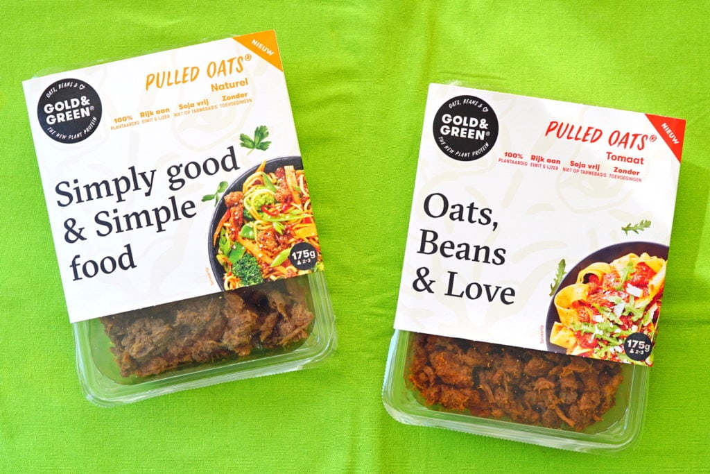 Gold & Green vegan pulled oats beans