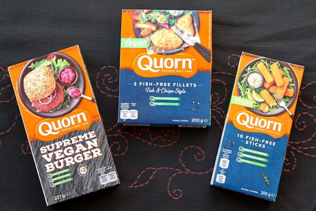 Quorn vegan burgers, vissticks en visfilet