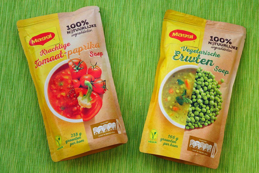 Maggi vegan erwtensoep en tomaten-paprikasoep