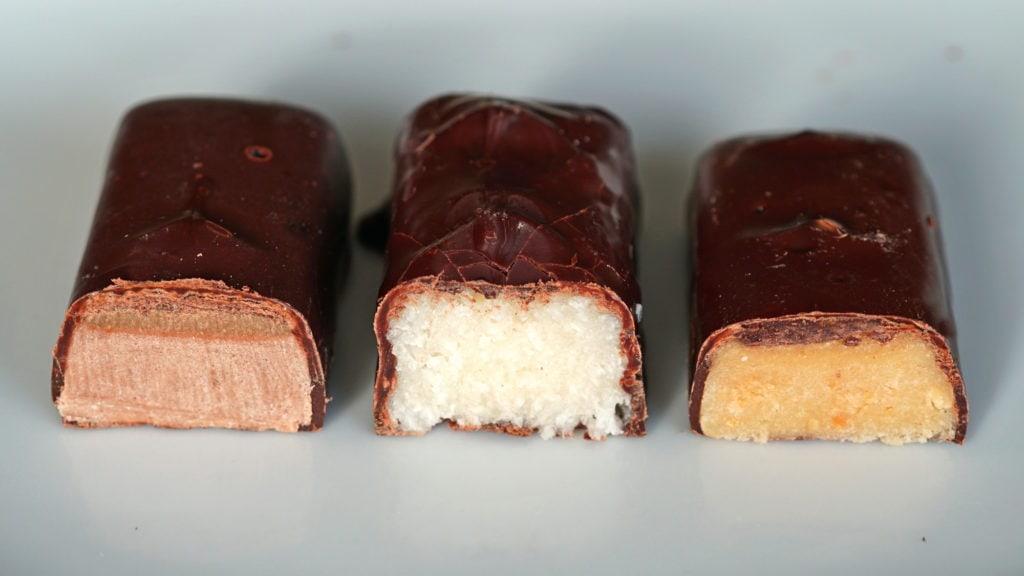 Biotoday vegan candybars gevulde chocoladerepen kokos, pinda, caramel