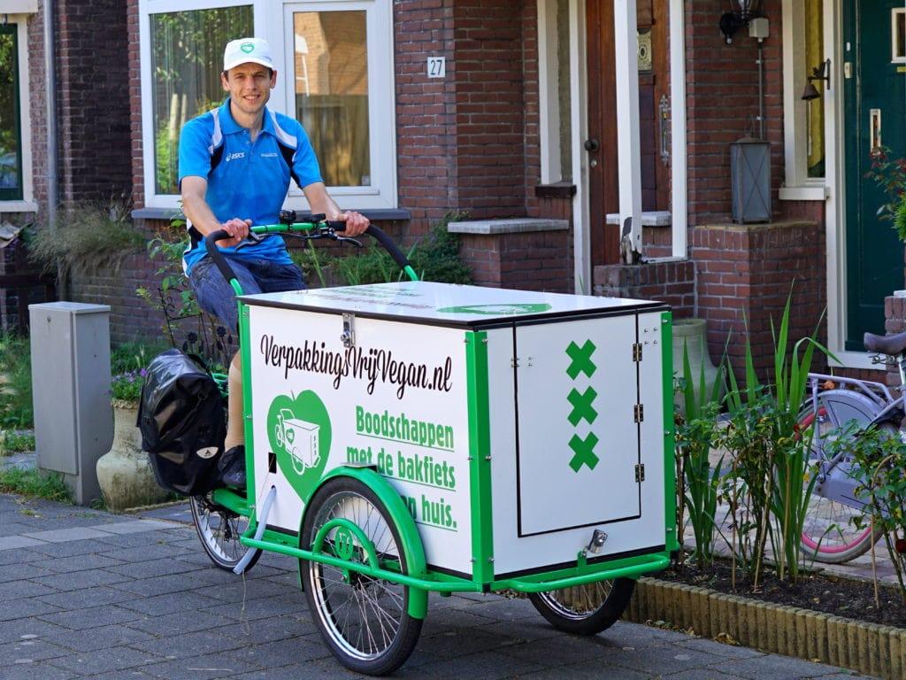 Verpakkingsvrij Vegan Amsterdam bakfietsr